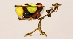 Luxury antique copper and glass angel style compote , European-style home accessories vintage ornaments fruit tray