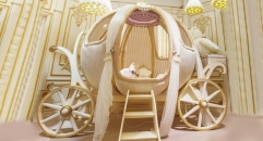 European Luxury Fairy Tale Style Pumpkin Shape Crib Kids Dream Baby CotBed Germany Beech
