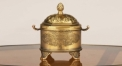 European golden with flower relief decorative copper jar , double handle jar, classical golden home decoration