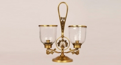 Luxury golden copper and glass style candle holder, home decoration copper candlestick