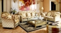 contemporary fashionable sofa set, golden yellow and white flowers pattern sofa set