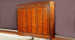 luxury modern style hand made solid wood red brown 6-door wardrobe