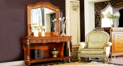 luxury red brown hand made solid wood console table and mirror