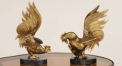 classical exquisite workmanship hand made metal craft, copper and marble cock figurine home decoration