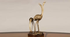 european exquisite workmanship hand made metal craft, copper and wood crane figurine home decoration