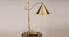 luxury new design golden color copper and marble base table lamp, copper bedroom table lamp