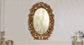 European Refined Resin Mirror European Style Luxury Oval Frame Decor Wall Art Hotel or Beauty Salon or Bathroom Used