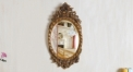 European Refined Carving Oval Mirror Antique Frame Luxury Decor Wall Art Hotel or Beauty Salon or Bathroom Used