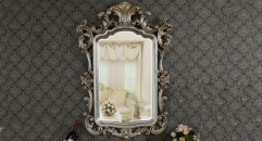 European Antique Refined Mirror Luxury Silver Frame Decor Wall Art Hotel or Beauty Salon or Bathroom Used