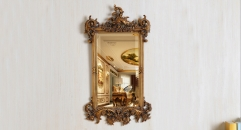 European Antique Refined Resin Mirror Luxury Royal Frame Decor Wall Art Hotel or Beauty Salon or Bathroom Used