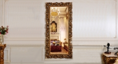 European Antique Refined Mirror Luxury Golden Frame Decor Wall Art Hotel or Beauty Salon or Living Room Used