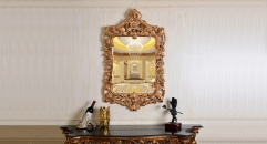 European Antique Refined Mirror Luxury Golden Frame Decor Wall Art Hotel or Beauty Salon or Bathroom Used