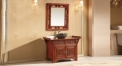 light brown oak of aged finish cabinet and mirror, oak color marble, single hole and single basin vanities