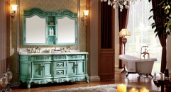 blue ash cabinet and mirror, colored jade marble, three holes and two basins Bathroom Vanities