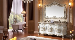 ivory and foil paint golden oak cabinet and mirror, amber jade marble, three holes and double basinsBathroom Vanities