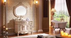 pink rose and foil paint golden oak cabinet and mirror, breccia oniciata marble, single hole and single basin Bathroom Vanities