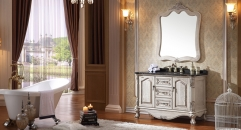 luxury antique white ashtree solid wood cabinet and mirror, portoro marble, three holes and single basin Bathroom Vanities