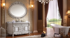 antique white American red oak cabinet and mirror, straight grain white marble, three holes and single basin Bathroom Vanities