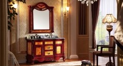 red brown oak cabinet and mirror, purple landscape marble, single hole and two basins Bathroom Vanities