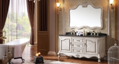antique white ashtree solid wood cabinet and mirror, portoro marble, three holes and two basins Bathroom Vanities