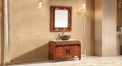light browm oak of aged finish cabinet and mirror, camellia marble, single hole and single basin bathroom vanities