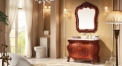 peach heart color oak cabinet and mirror, rose colored jade marble, single hole and single basin bathroom vanities