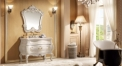foil paint champagne golden and white oak cabinet and mirror, rose colored jade marble, three holes and single basin vanities