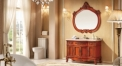 red brown oak of aged finish cabinet and mirror, camellia marble, single hole and single basin vanities