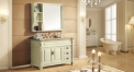 beige color oak cabinet and mirror, Oman beige marble, three holes and single basin bathroom vanities