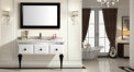 snow mountain white and black oak cabinet and mirror, Volakas white marble, single hole and single basin bathroom vanities