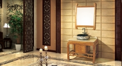 light redwood cabinet and mirror, Beige Travertine marble, single hole and single basin bathroom vanities