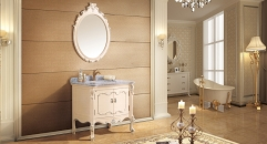 light lutos oak with foil paint silver cabinet and mirror, Venato Carrara marble, single hole and single basin bathroom vanities