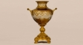 European superior glass and copper jar with relief decorative, double handle jar, classical golden home decoration