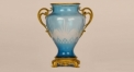 luxury style sky blue glass with golden copper vase, exquisite hand made vase, European style table vase