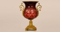 classical style dark red glass with golden copper vase, luxury ceramic hand made vase, European style table vase