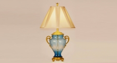 Luxury ancient design sky blue glass with golden copper table lamp, bedroom table lamp