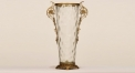luxury double flowers ears style table vase, lucency import glass with golden copper base vase