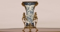 European style blue and white porcelain and copper vase, exquisite workmanship double angels handle copper and ceramic vase