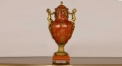 antique imitation lucky red porcelain with golden copper furnishing craft, lovely angels double ears home decoration