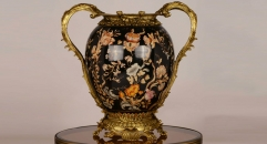antique imitation hand paint porcelain with golden copper furnishing craft, flowers theme big pot home decoration