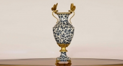 antique imitation blue and white porcelain and golden copper vase, exquisite hand made dragonfly double ears table vase