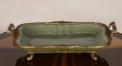 vintage golden copper and green glazed porcelain style tray, luxury handmade double handle plate dish, royal fruit plate