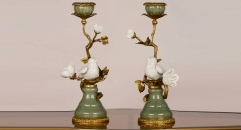 Vivid little birds singing on the branch style candle holder, luxury golden copper and ceramic candlestick