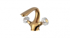 exquisite European Style cold and hot water Bathroom Faucet, Dual Holder Single Hole basin mixer, titanium gold faucet