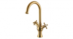 luxury European Style Dual Holder Single Hole kitchen Faucet, 100% copper gold-rose kitchen mixer