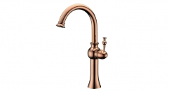 exquisite European Style Single Handle single hold Bathroom Faucet, 100% copper gold-rose kitchen mixer