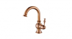 classical European Style Single Handle single hold Bathroom Faucet, 100% copper gold-rose kitchen mixer
