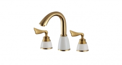 golden 8 inch Widespread Dual Holder Three-hole Luxury Bathroom Faucet, separate basin mixer, titanium gold faucets
