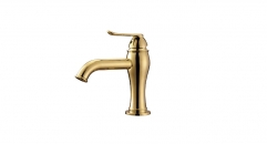 Titanium gold Single Handle single hole Bathroom Faucet, 100% copper basin mixer, cold and hot water basin faucet