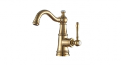 Titanium gold Single Handle single hole Bathroom Faucet, copper basin mixer, cold and hot water basin faucet